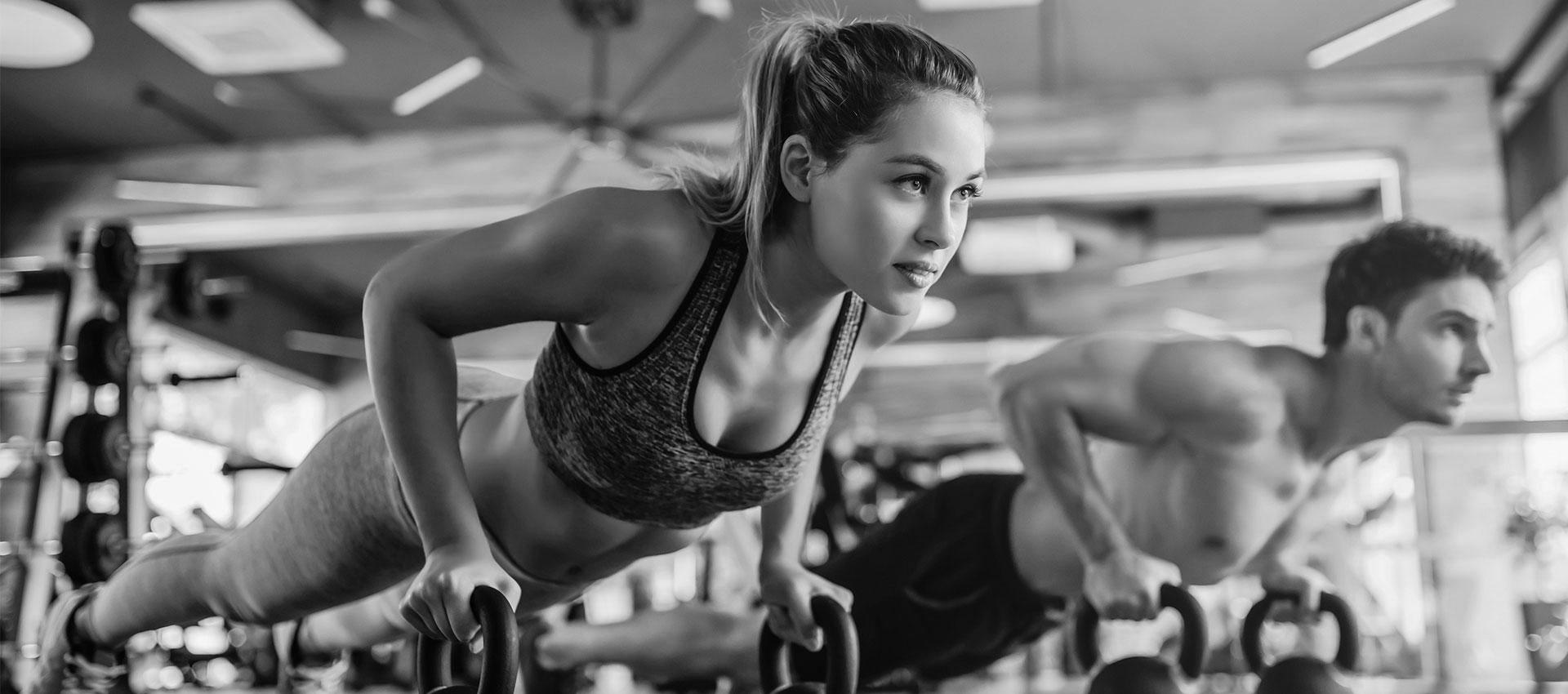 Man and woman at a gym